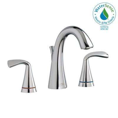 Fluent 8 in. Widespread Bathroom Faucet with Speed Connect Drain and Color Indicator in Polished Chrome