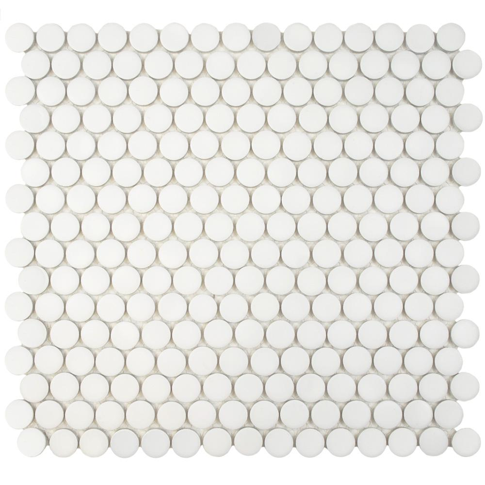 Merola Tile Hudson Penny Round Matte White 12 In X 12 5 8 In X 5 Mm Porcelain Mosaic Tile 10 74 Sq Ft Case Fkompr10 The Home Depot