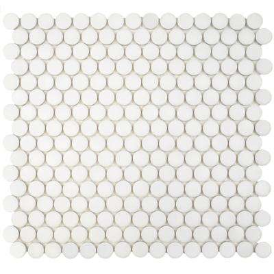 Hudson Penny Round Matte White 12 in. x 12-5/8 in. x 5 mm Porcelain Mosaic Tile (10.2 sq. ft. / case)