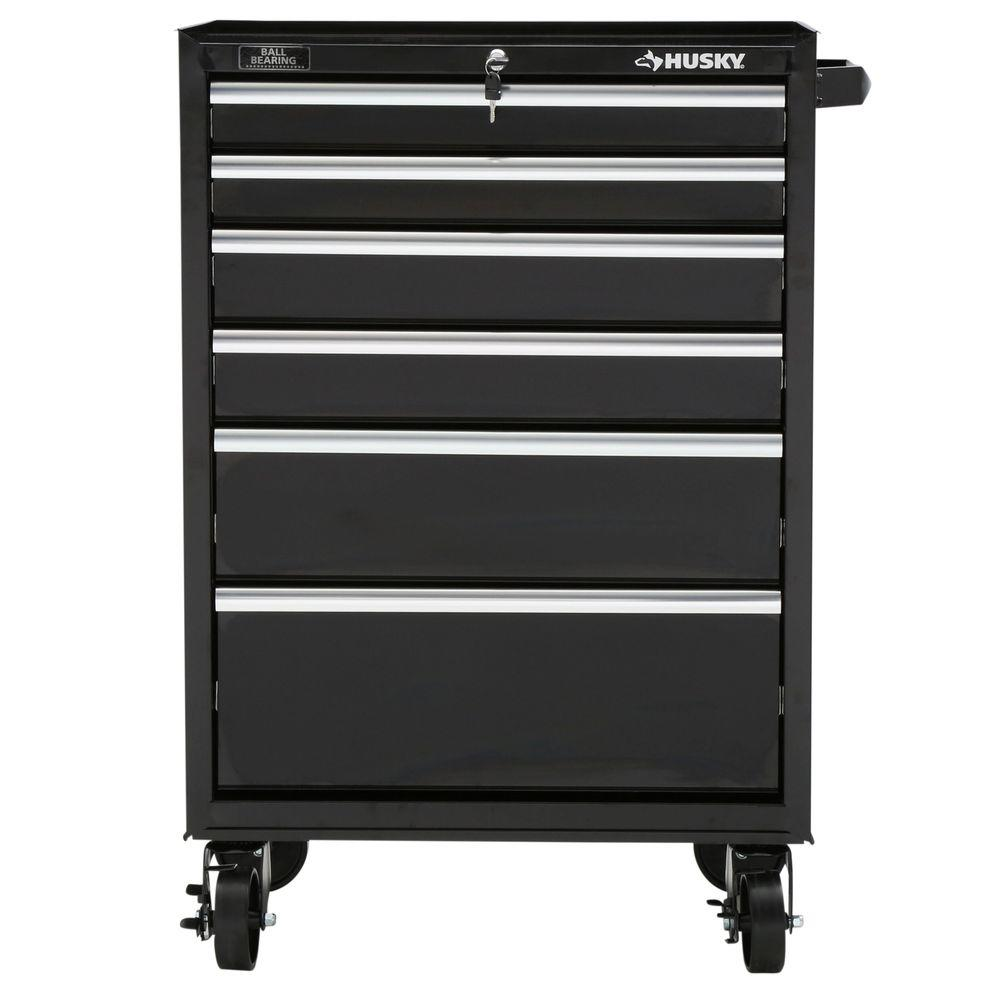 Husky 27 in. 6-Drawer Rolling Tool Cabinet, Black