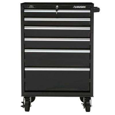 27 in. 6-Drawer Rolling Tool Cabinet, Black