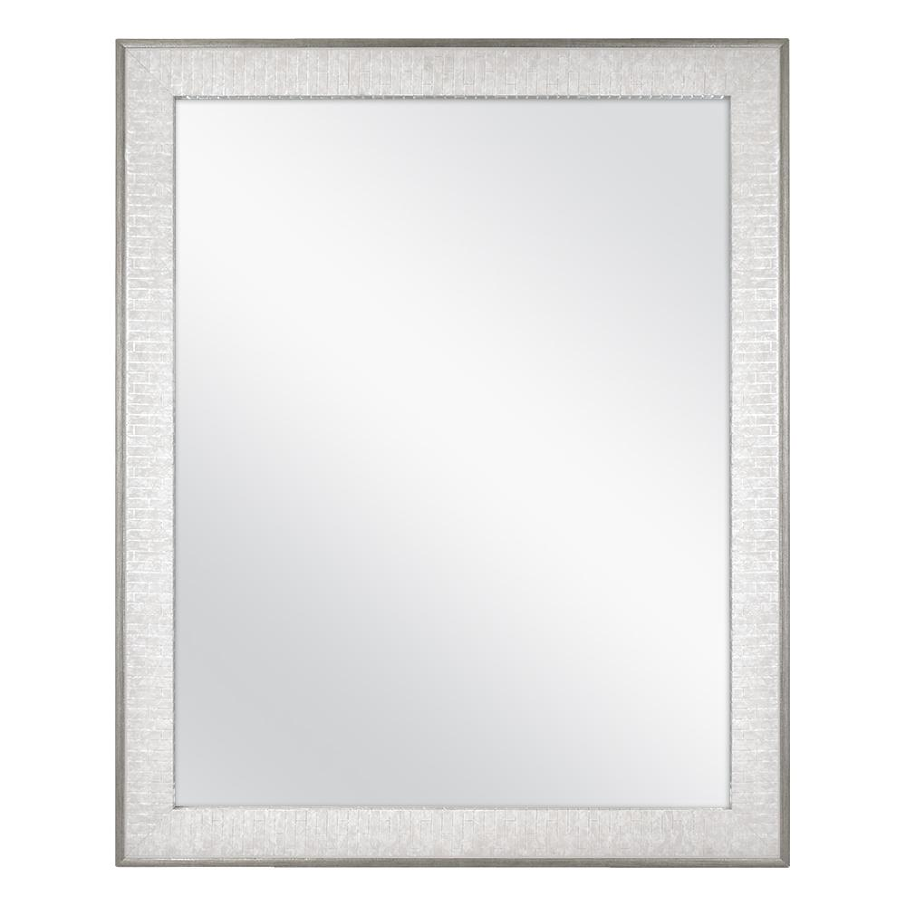 Home Decorators Collection 25 in. x 31 in. Framed Fog Free Wall Mirror in Soft Gray with Pewter Finish