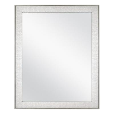 25 in. x 31 in. Framed Fog Free Wall Mirror in Soft Gray with Pewter Finish