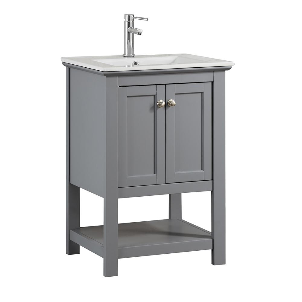 Fresca Bradford 24 in. W Traditional Bathroom Vanity in Gray with Ceramic Vanity Top in White with White Basin