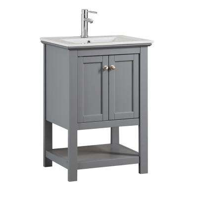 Bradford 24 in. W Traditional Bathroom Vanity in Gray with Ceramic Vanity Top in White with White Basin