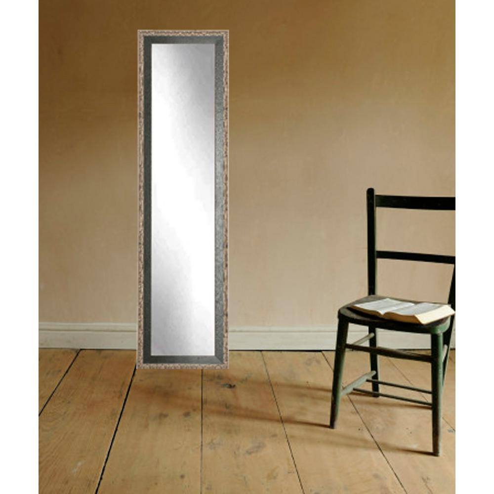 Noble black and pewter full length framed mirror for Full length wall mirror