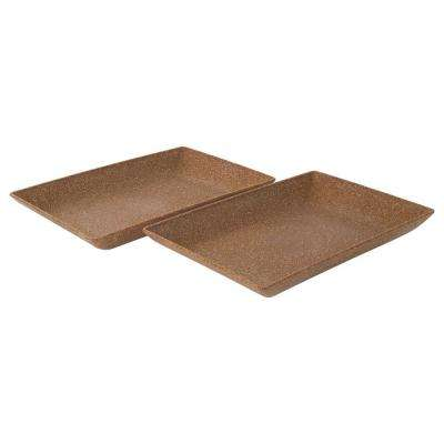 EVO Sustainable Goods Light Brown Eco-Friendly Wood-Plastic Composite Serving Dish Set (Set of 2)