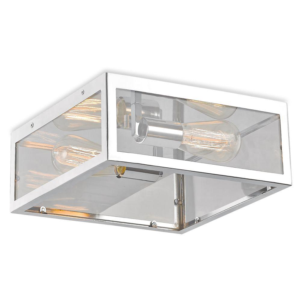 Maxime 2-Light Chrome Flush Mount