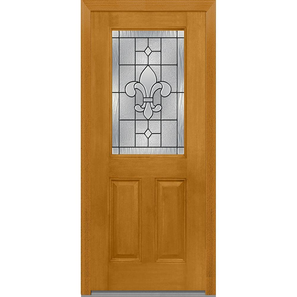 Mmi Door 33 5 In X In Carrollton Decorative Glass 1 2 Lite Mahogany Finished Fiberglass