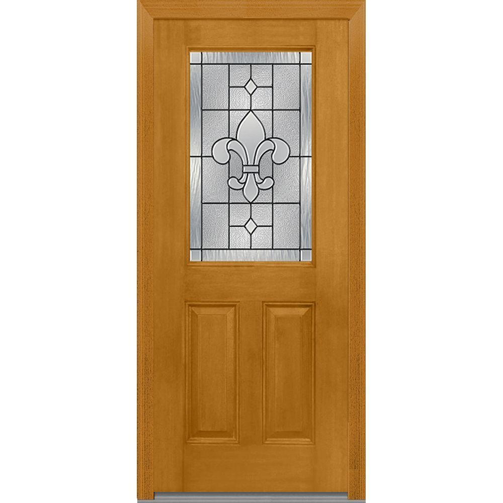 2 Panel - 32 x 80 - Light Brown Wood - Front Doors - Exterior Doors ...