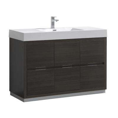 Valencia 48 in. W Bathroom Vanity in Gray Oak with Double Acrylic Vanity Top in White