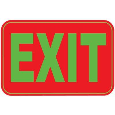 12 in. x 8 in. Plastic High Visibility Red and Green Exit Sign (3-Pack)