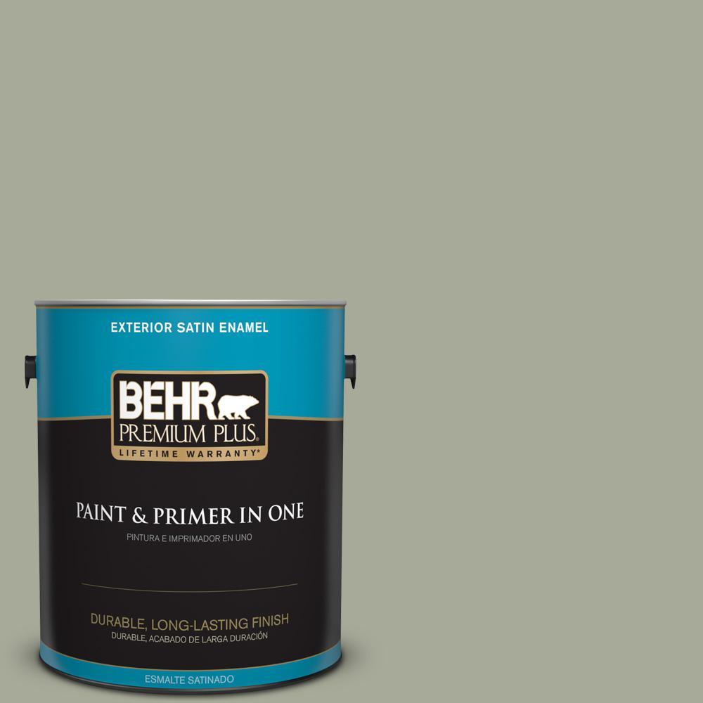 1 gal. #PPU10-16 Simply Sage Satin Enamel Exterior Paint