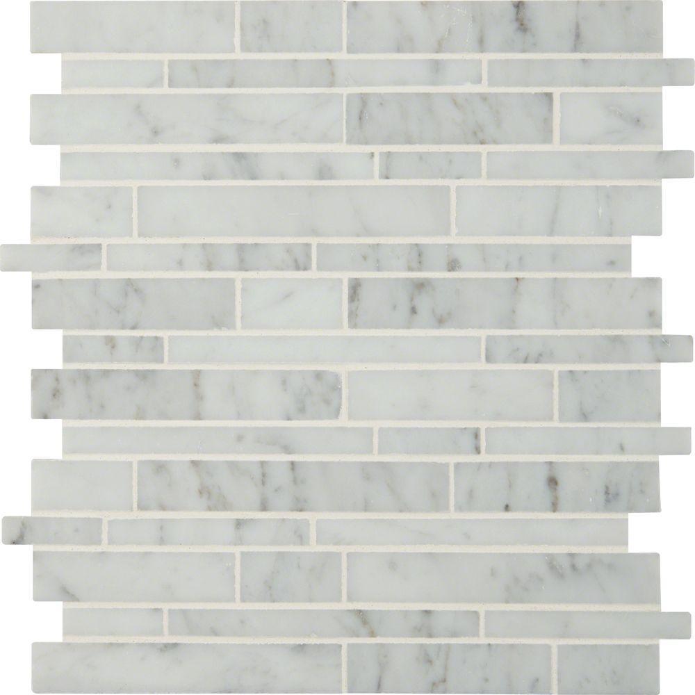 MSI Carrara White RSP Interlocking 12 in. x 12 in. x 10 mm Polished Marble Mesh-Mounted Mosaic Tile (10 sq. ft. / case)