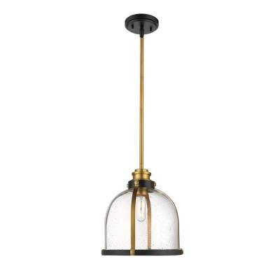 Quadra 1-Light Bronze and Brass Pendant with Clear Seedy Glass Shade