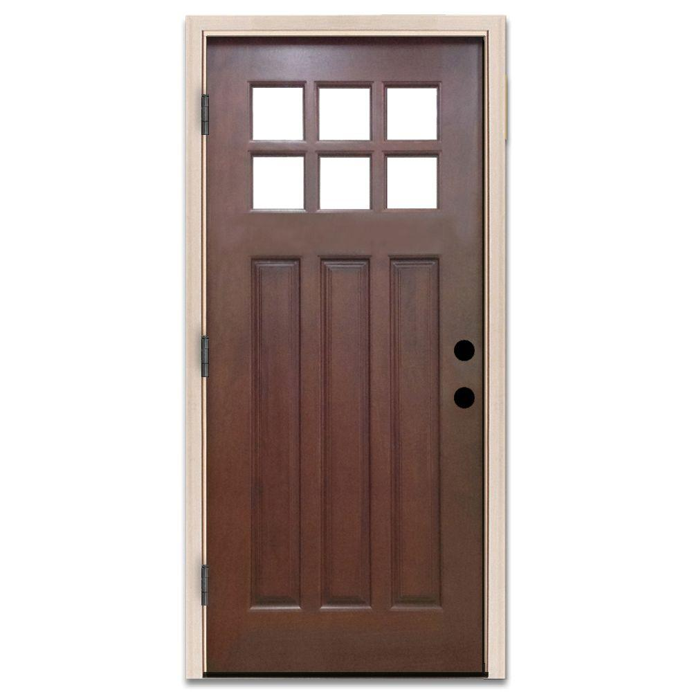 36 in. x 80 in. Craftsman 6 Lite Stained Mahogany Wood