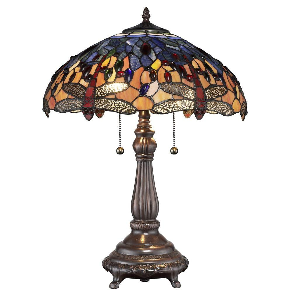 Dragonfly Table Lamp Desk Light Vintage Style Stained Glass Shade Decor Bronze