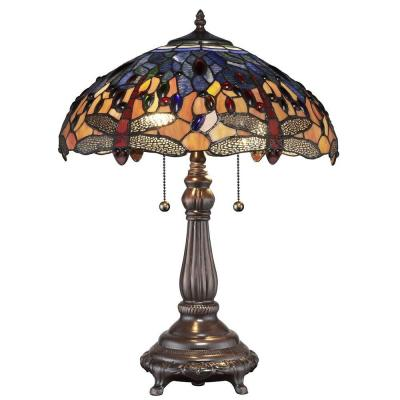 Tiffany Red Dragonfly 25 in. Bronze Table Lamp