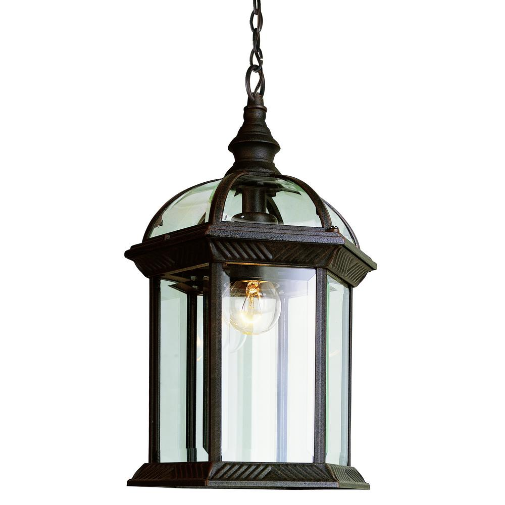 Bel Air Lighting Atrium 1 Light Outdoor Hanging Rust Lantern With Clear Gl