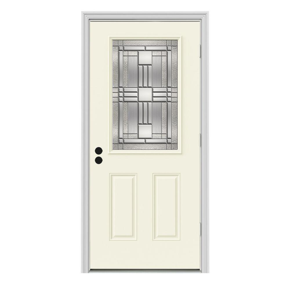 Jeld wen 36 in x 80 in 1 2 lite cordova vanilla painted steel prehung left hand outswing front 36 x 80 outswing exterior door