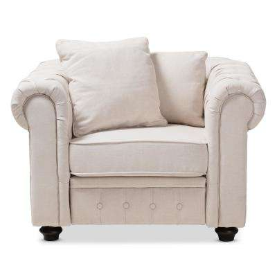 Alaise Beige Fabric Upholstered Chesterfield Chair