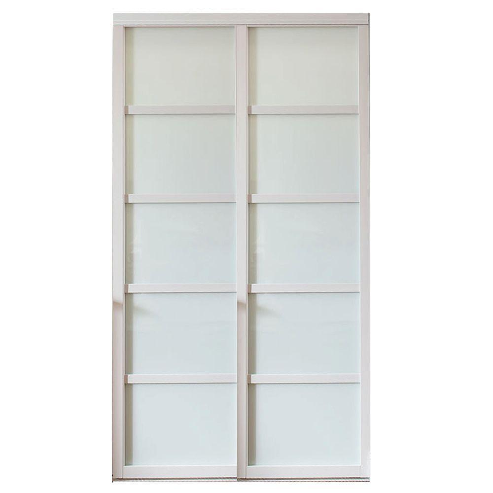 Contractors Wardrobe 60 In X 96 In Tranquility Glass Panels Back Painted White Wood Frame