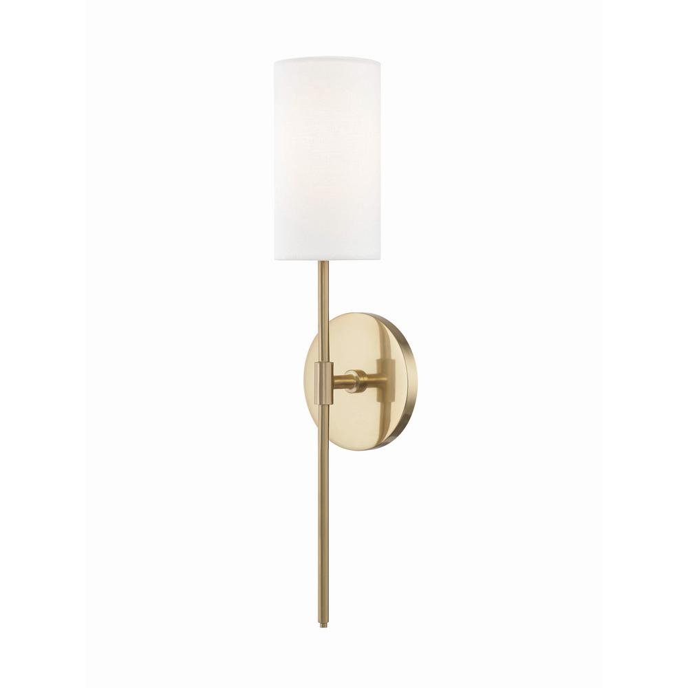 Mitzi by Hudson Valley Lighting Olivia 1-Light Aged Brass Wall Sconce with White Linen  sc 1 st  Home Depot & Mitzi by Hudson Valley Lighting Olivia 1-Light Aged Brass Wall ...
