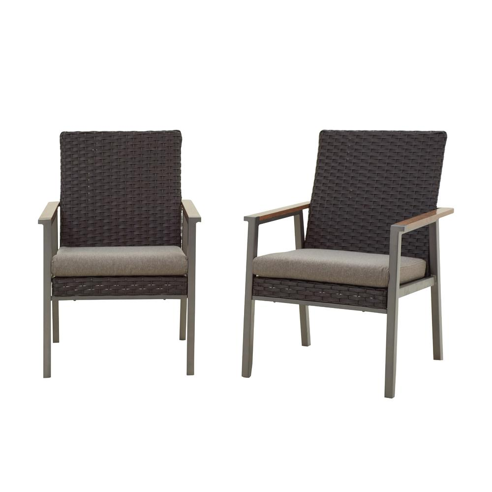 2-Piece Metal Outdoor Dining Chair with Gray Cushion