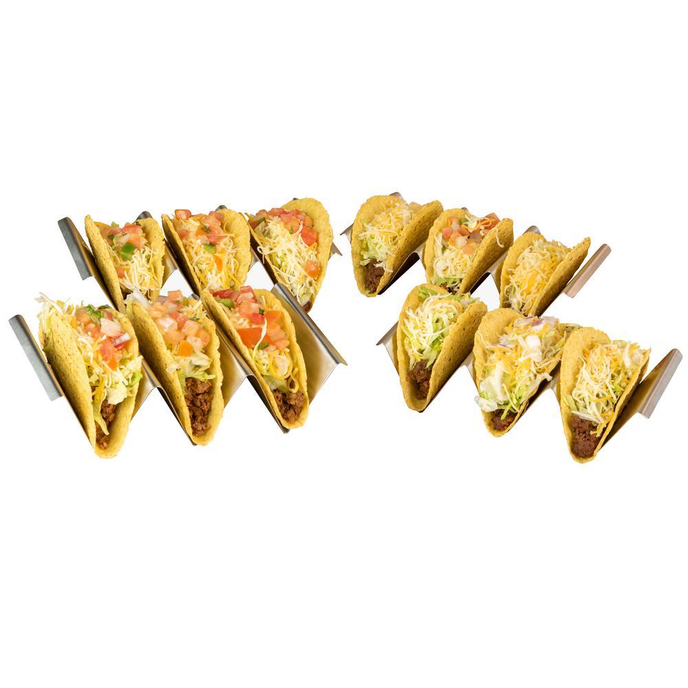 8.25 in. Stainless Steel Rectangular Taco Holder (Set of 4)