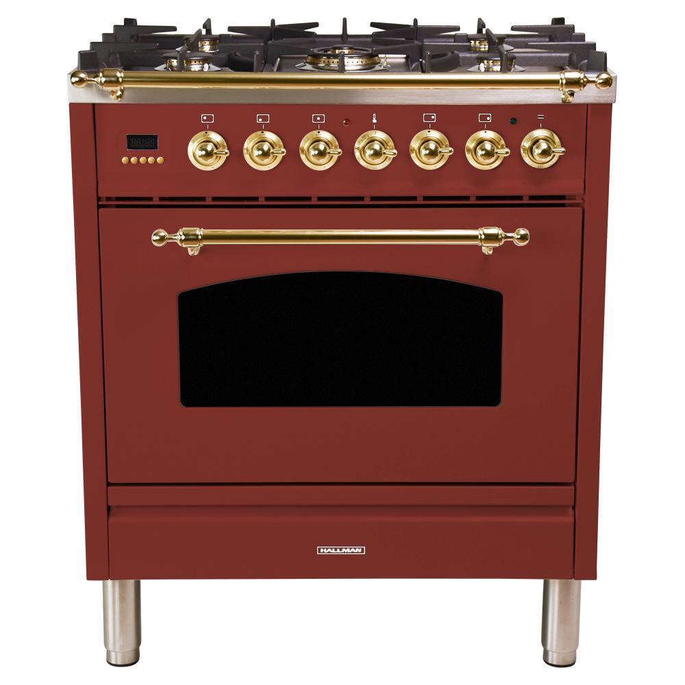 Hallman 30 in. 3.0 cu. ft. Single Oven Dual Fuel Italian Range with True Convection, 5 Burners, Brass Trim in Burgundy