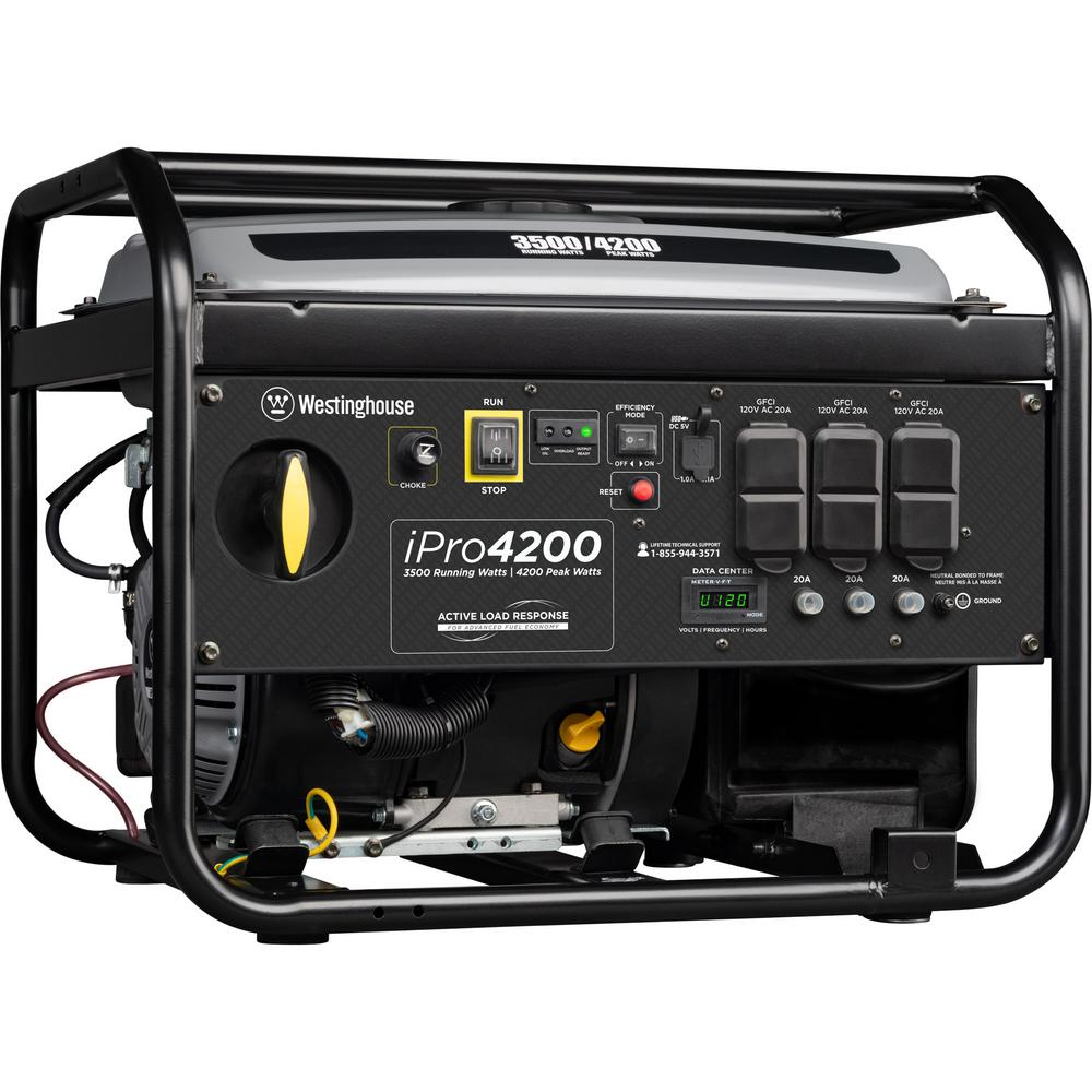 Westinghouse iPro4200 4,200/3,500 Watt Gas Powered Portable Industrial Inverter Generator with OSHA Compliant GFCI Protection
