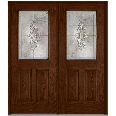 72 in. x 80 in. Heirloom Master Left-Hand 1/2 Lite 2-Panel Classic Stained Fiberglass Oak Prehung Front Door