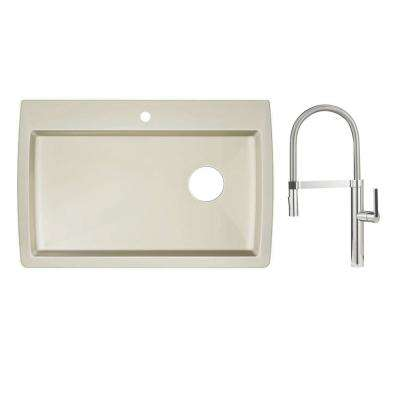 Diamond Dual Mount Granite Composite II 33 in. 1-Hole Single Bowl Kitchen Sink in Biscuit with Faucet in Polished Chrome