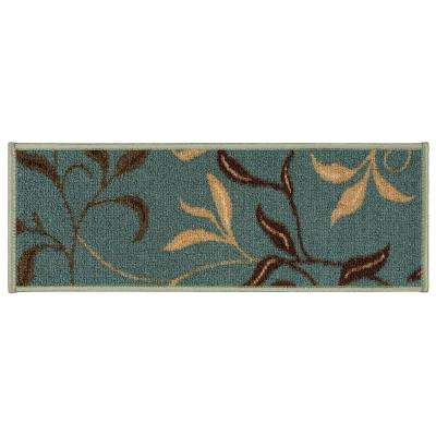 Ottohome Collection Contemporary Leaves Design Seafoam 9 in. x 26 in. Rubber Back Stair Tread Cover (Set of 13)