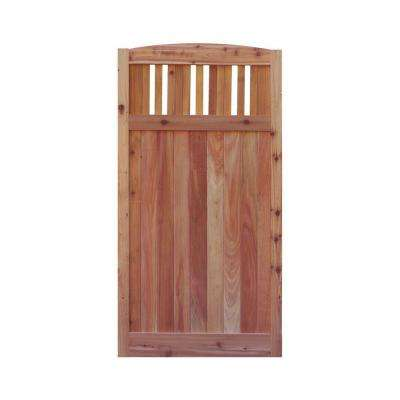 3 ft. x 6 ft. Western Red Cedar Arch Top Vertical Lattice Fence Gate