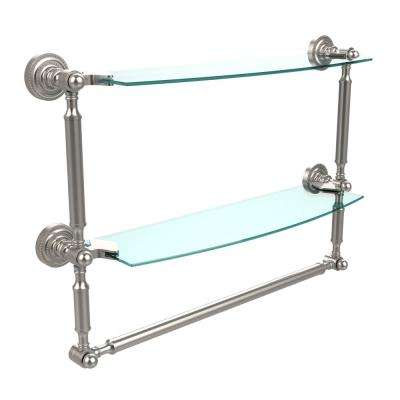 Dottingham 18 in. L  x 15 in. H  x 5 in. W 2-Tier Clear Glass Bathroom Shelf with Towel Bar in Satin Nickel