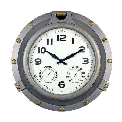 18 in. Silver Porthole Clock/Hygrometer or Thermometer