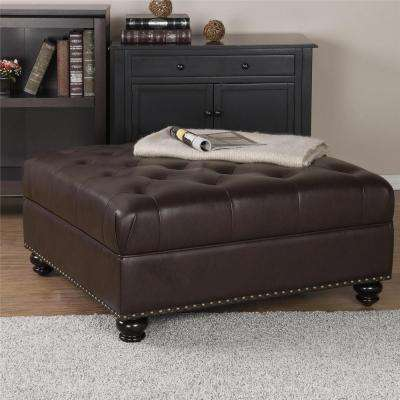 Hastings Brown Tufted Faux Leather Ottoman