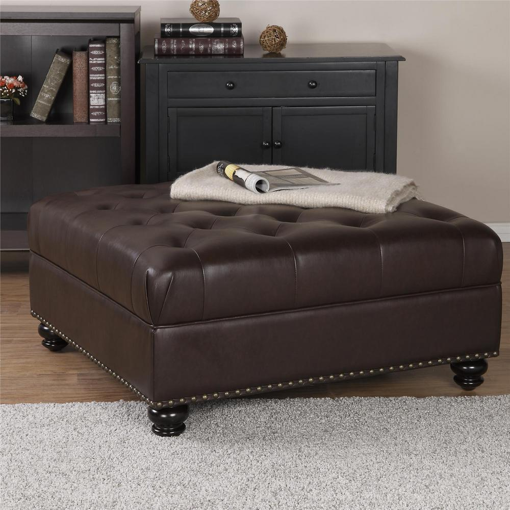 Brown leather ottoman - Dorel Hastings Brown Tufted Faux Leather Ottoman
