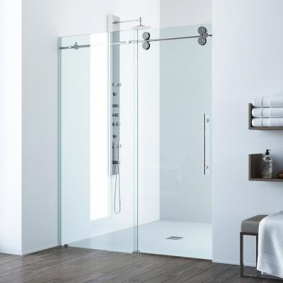 Elan 68 to 72 in. x 74 in. Frameless Sliding Shower Door in Chrome with Clear Glass and Handle
