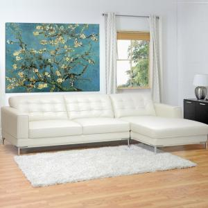 Baxton Studio Babbitt 2-Piece Contemporary White Faux Leather Upholstered Right Facing Chase Sectional Sofa by Baxton Studio