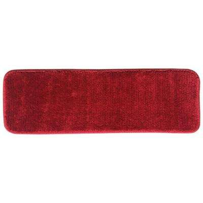Sweethome Stores Luxury Collection Red 9 in. x 26 in. Rubber Back Shaggy Stair Tread Cover (Set of 7)