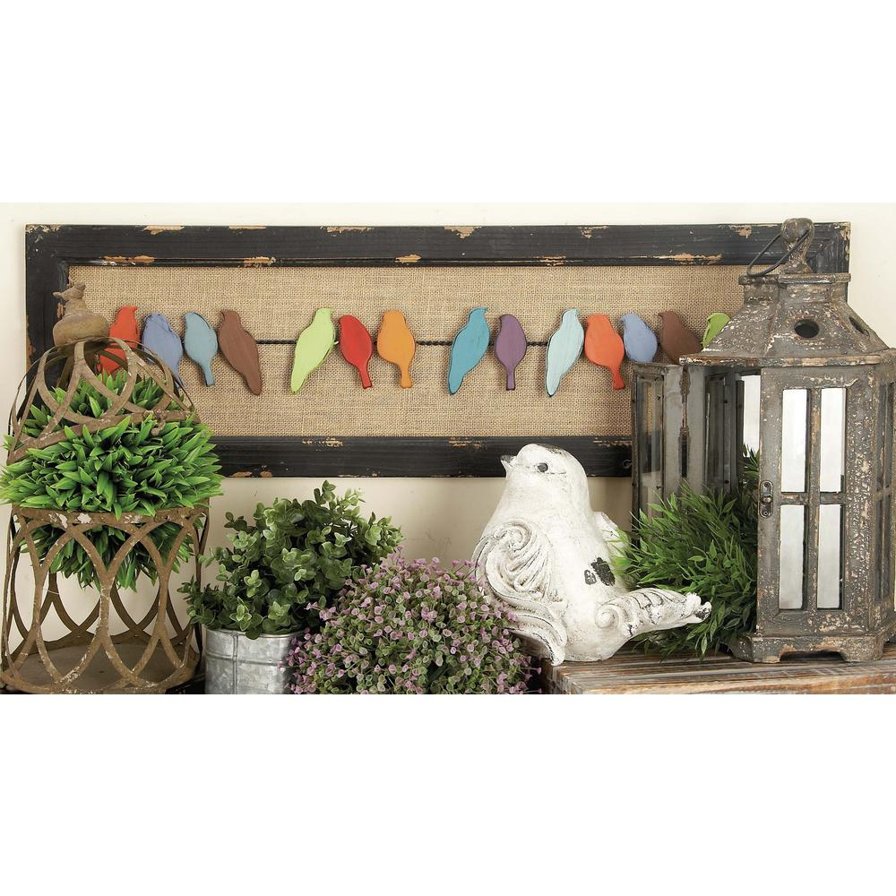 Litton Lane 38 In X 12 In Rustic Charms Birds On Wire Wall Decor