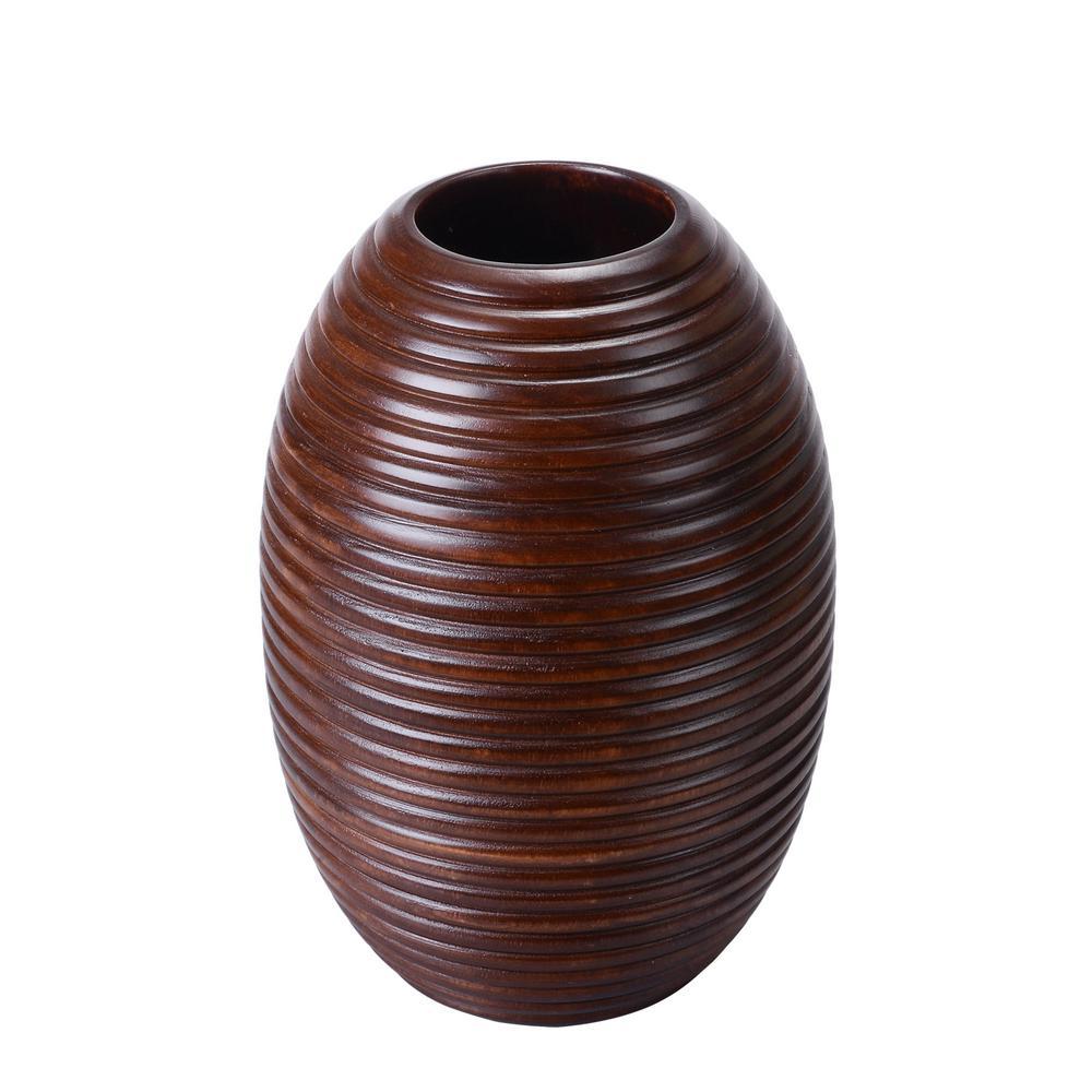 10 in. x 7 in. Brown Handmade Decorative Mango Wood Ripple Vase