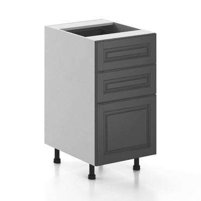 Ready to Assemble 18x34.5x24.5 in. Buckingham 3-Drawer Base Cabinet in White Melamine and Door in Gray