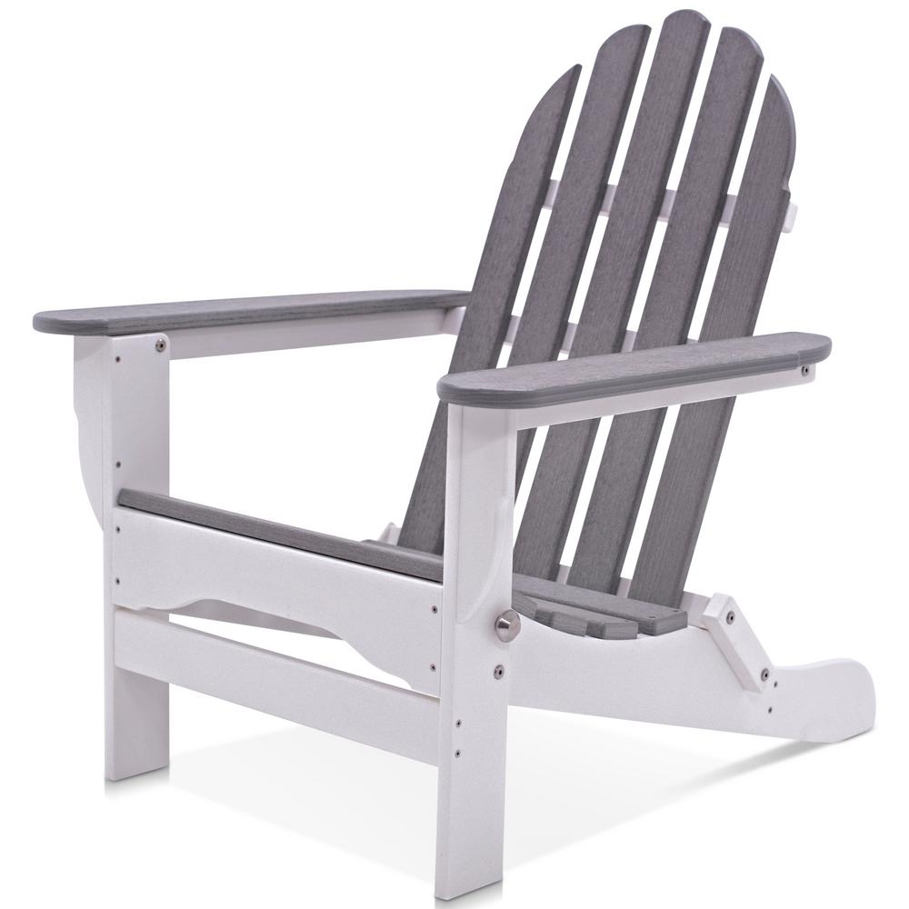 durogreen icon white and driftwood plastic folding adirondack chair tac8020whdw the home depot. Black Bedroom Furniture Sets. Home Design Ideas