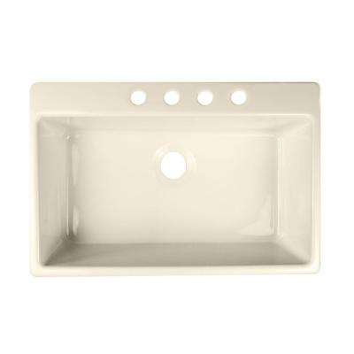Essence Drop-In Acrylic 33x22x9 in. 4-Hole Single Bowl Kitchen Sink in Biscuit