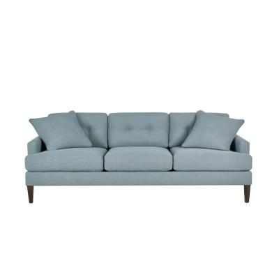 Pembrook Cambric Aloe Teal Straight Standard Sofa with Tufting for 3 (86.5 in. W x 33.5 in. H)