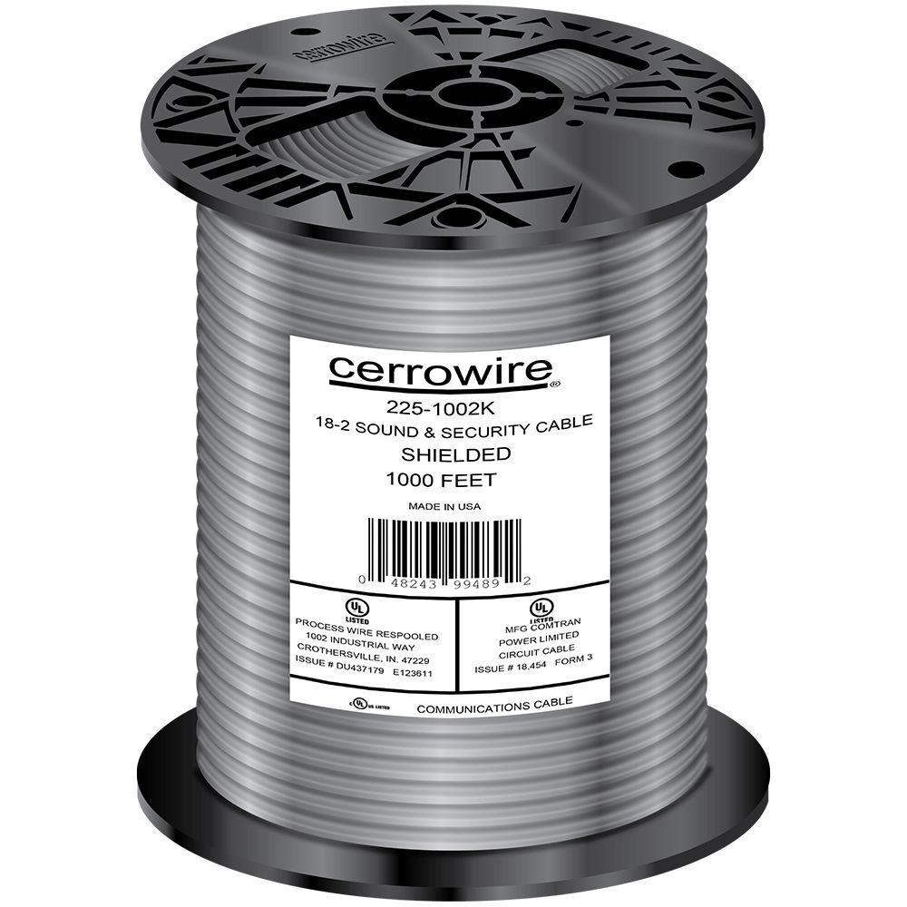 Cerrowire 1000 ft. 18/2 Shielded Security Alarm Wire-225-1002K ...