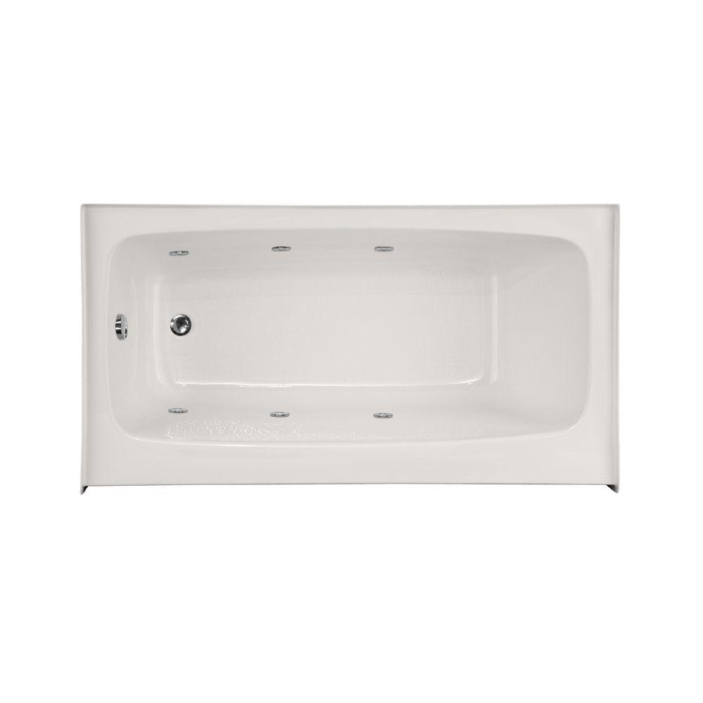 Trenton 5.5 ft. Left Drain Shallow Depth Whirlpool Tub in White